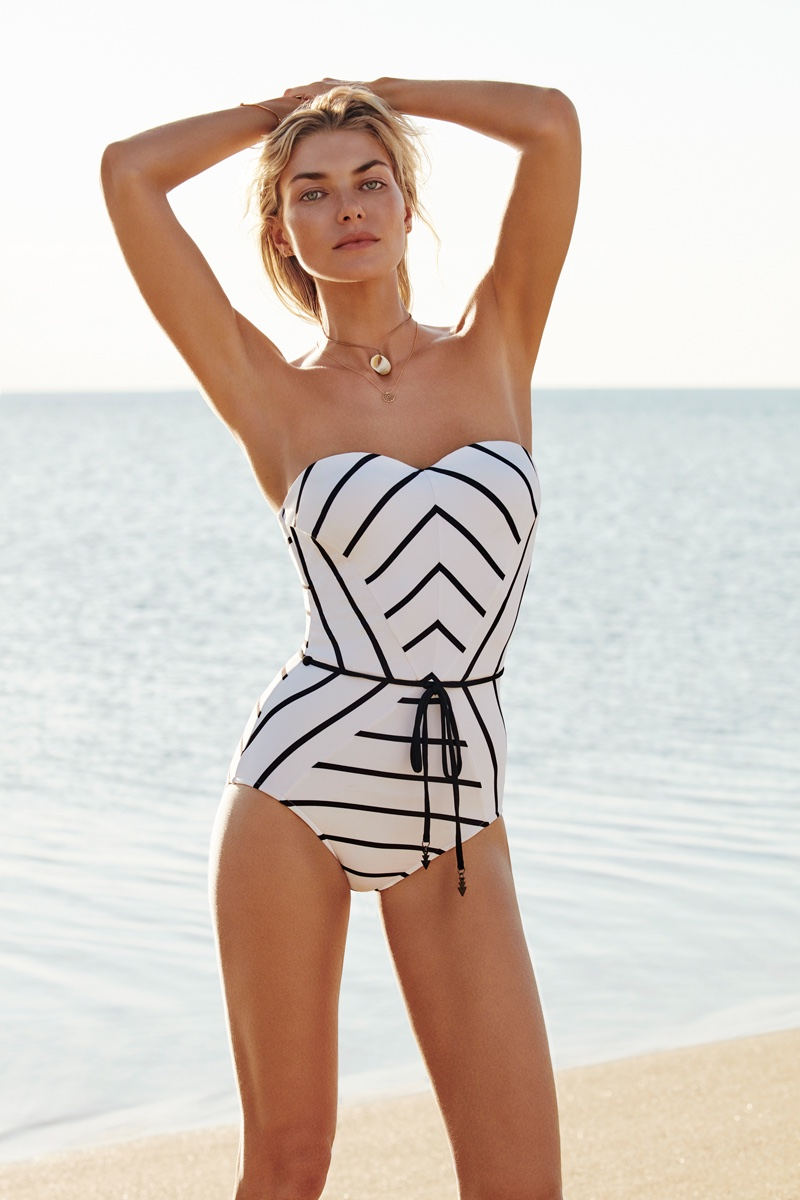 Seafolly features Castaway Stripe Bandeau Maillot One Piece in summer 2017 campaign