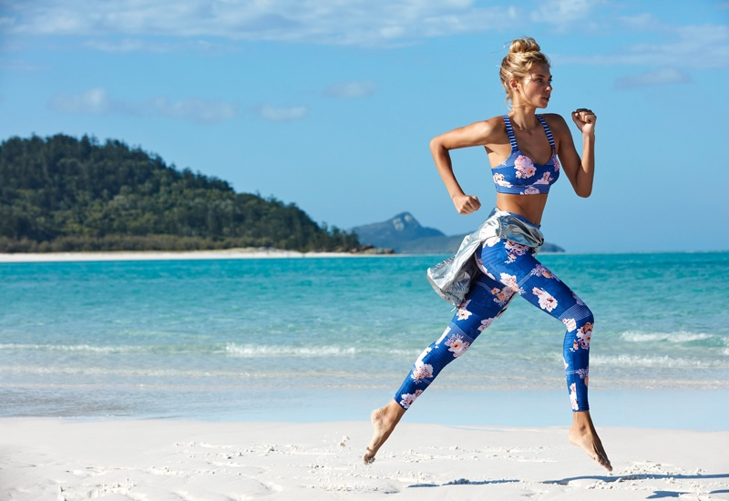 Jessica Hart poses on the beaches of Australia's Whitsunday Islands for Seafolly