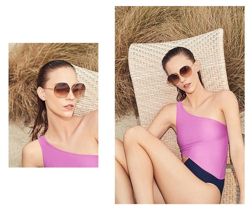9d706698dfd1f ... Tory Burch Feliz Stripe One Piece Swimsuit · Linda Farrow Luxe  Geometric Sunglasses and Araks Elmar One Piece