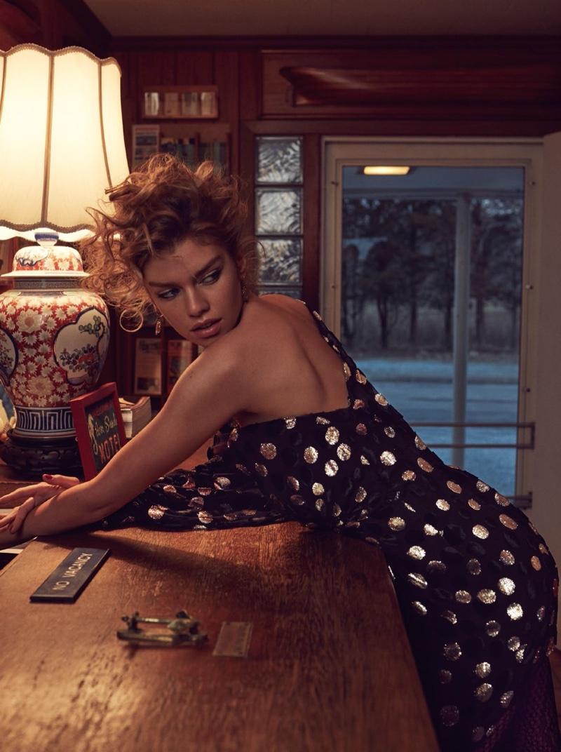 Model Stella Maxwell shines in Saint Laurent one-shoulder dress