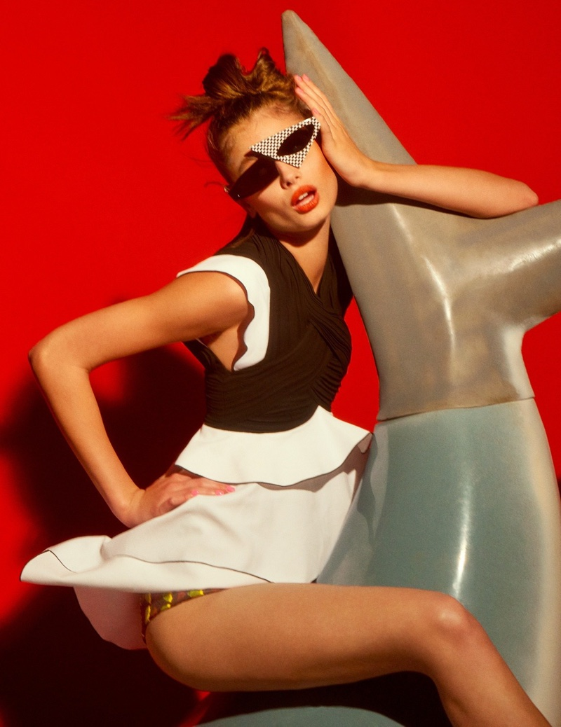 Looking topsy turvy, Taylor Hill poses in Proenza Schouler look