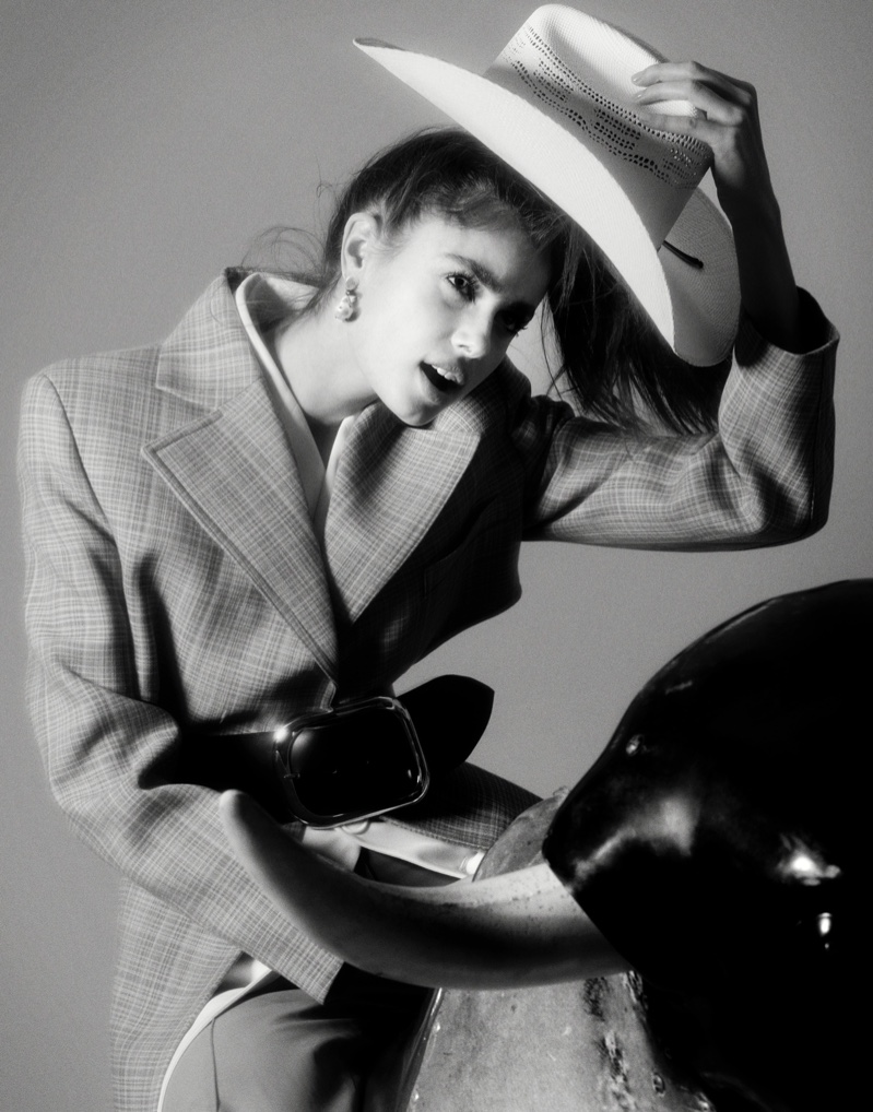 Taylor Hill poses in Celine jacket