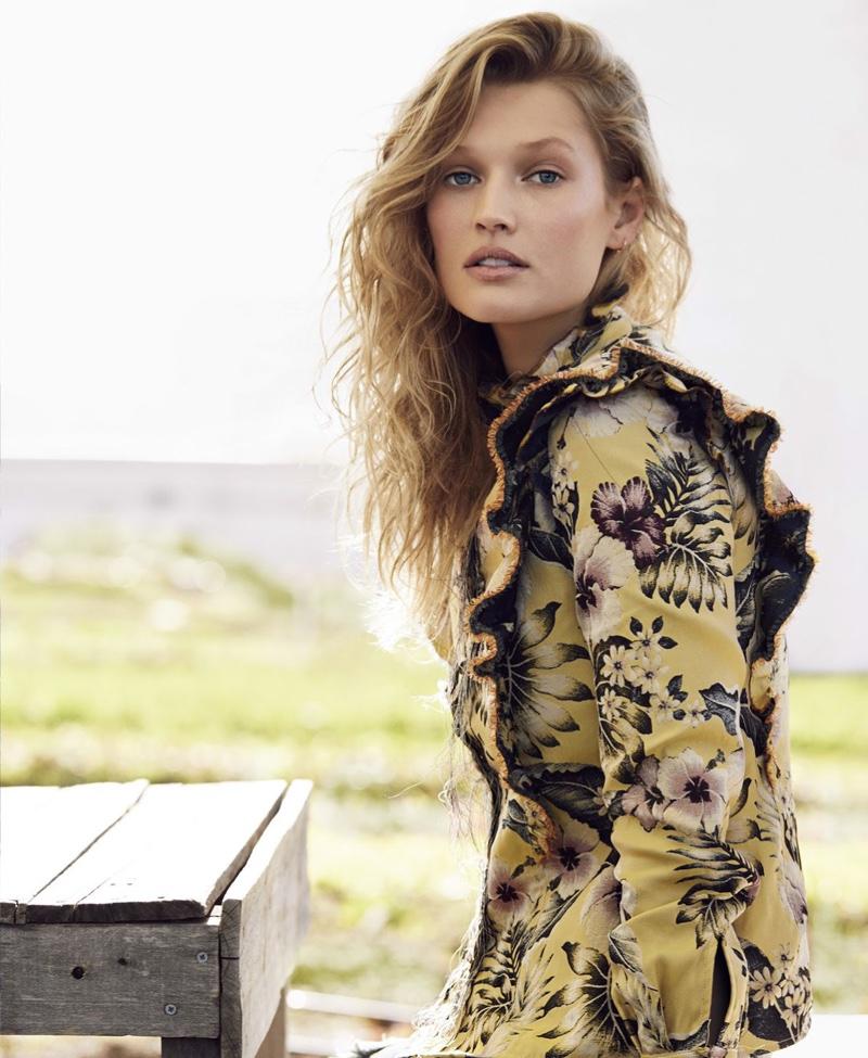 In bloom, Toni Garrn models Philosophy di Lorenzo Serafini floral print dress