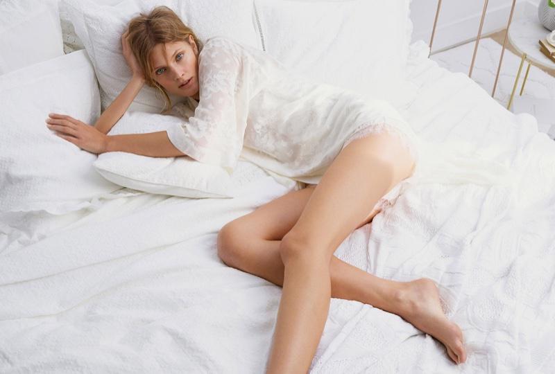 Dressed in white, Constance Jablonski wears lingerie look from Zara Home