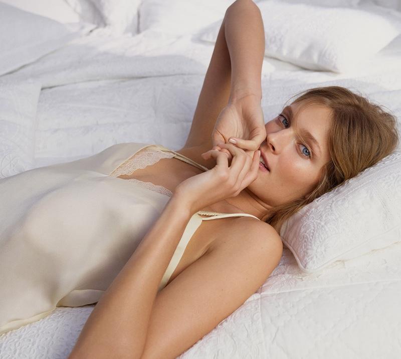 Looking sensual, Constance Jablonski poses in Zara lace trimmed slip dress