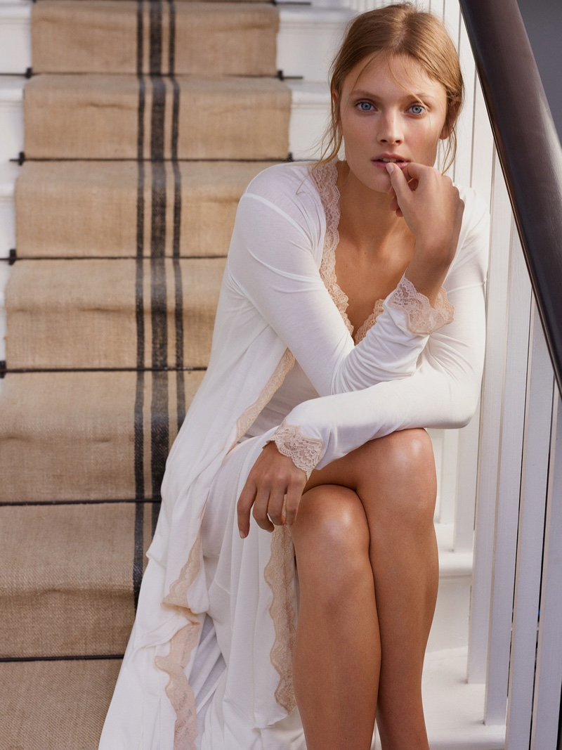 Constance Jablonski poses in lace and silk styles from Zara Home