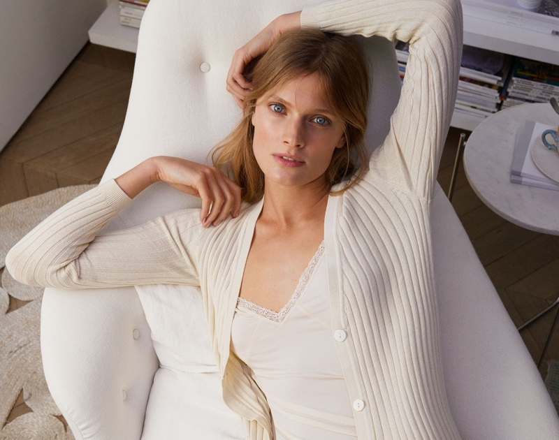 Zara Home features cardigan knit and lace-trimmed top from spring 2017 lingerie collection