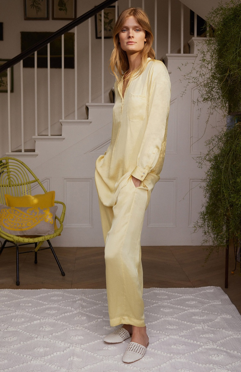 Constance Jablonski models Zara Home pajama top and trousers with slippers