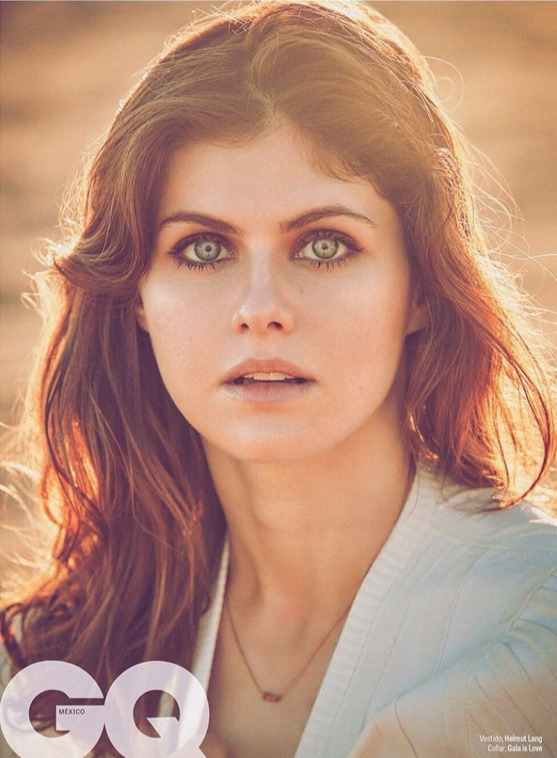 Alexandra Daddario gets her closeup in Helmut Lang dress with Gala is Love necklace