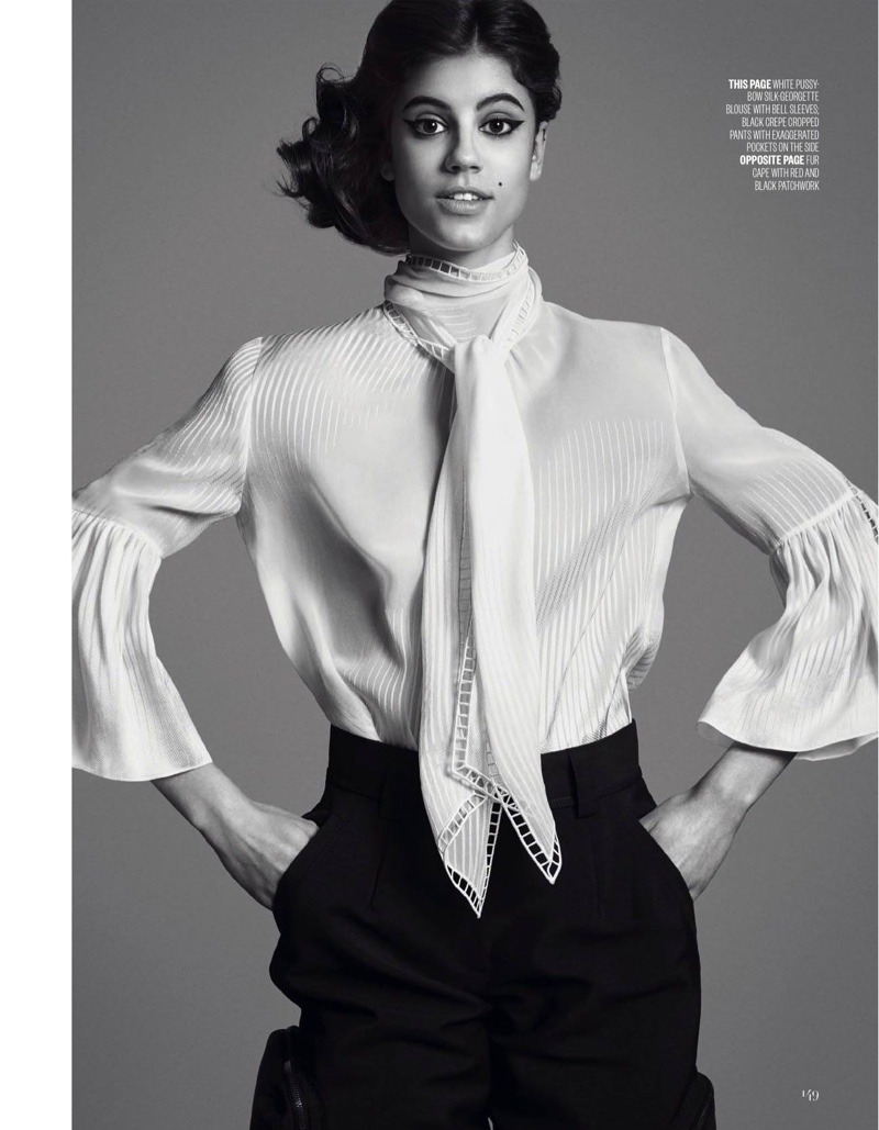Striking a pose, Antonina Petkovic wears Fendi white pussy bow blouse and crepe pants