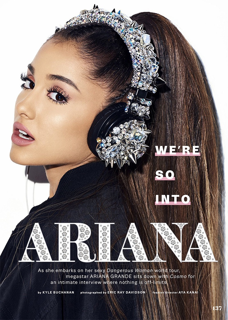 Turning up the shine factor, Ariana Grande wears Jeremy Scott jacket and Gasoline Gamour headphones