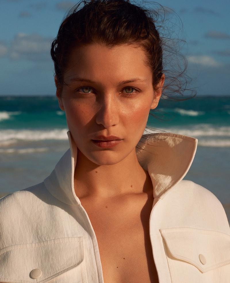 Getting her closeup, Bella Hadid models Sonia Rykiel jacket