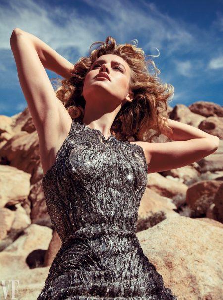 Actress Brie Larson shines in metallic dress
