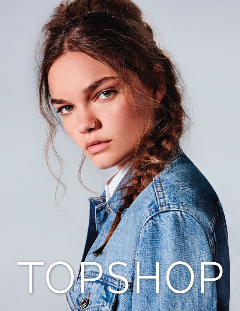 Caitie Green wears denim jacket in Topshop Jeans' spring-summer 2017 campaign