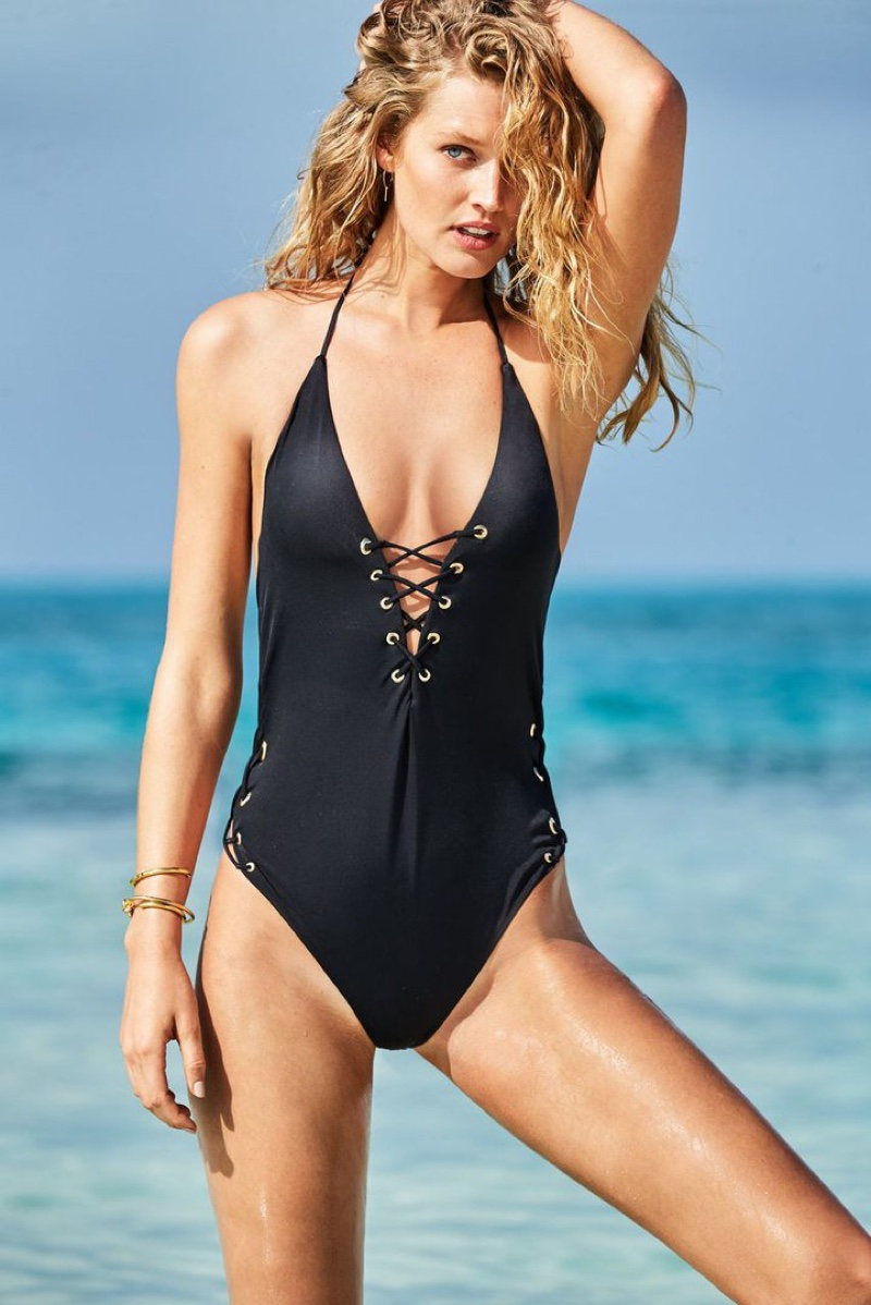 Toni Garrn models black one-piece swimsuit in Calzedonia's summer 2017 campaign