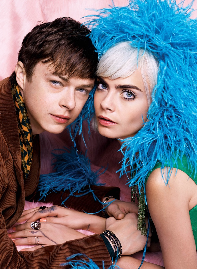Looking retro chic, Cara Delevingne and Dane DeHaan model Prada looks