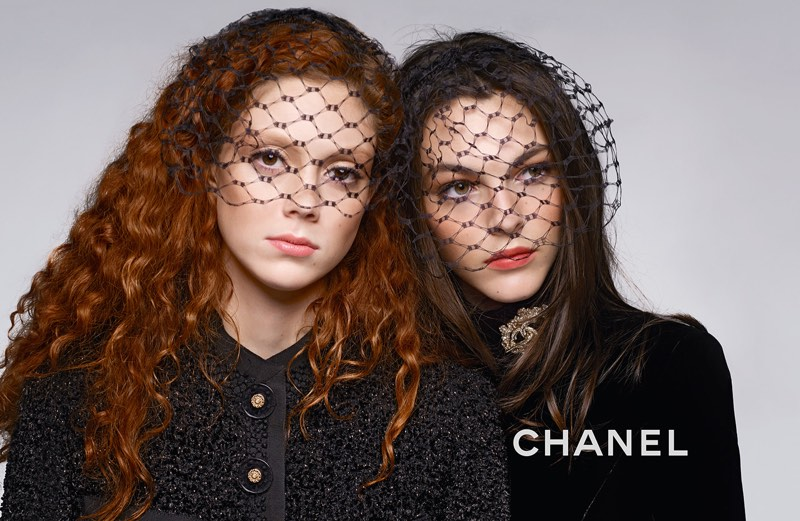 Natalie Westling and Vittoria Ceretti cover up in mesh veils for Chanel's pre-fall 2017 campaign