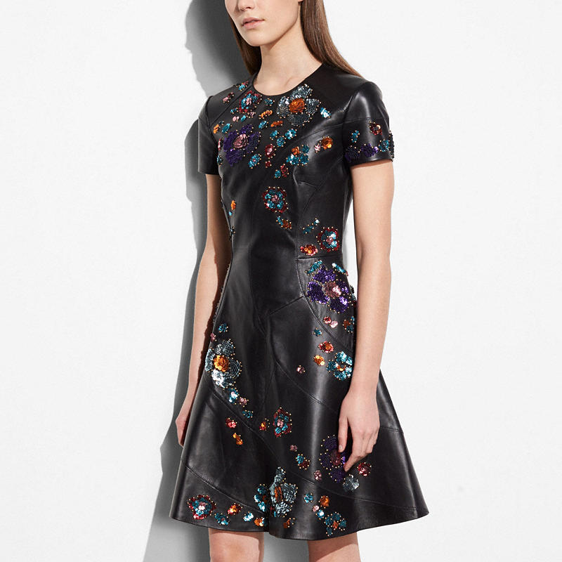 Coach and Rodarte Black Circle Dress Leather Sequins $2,500
