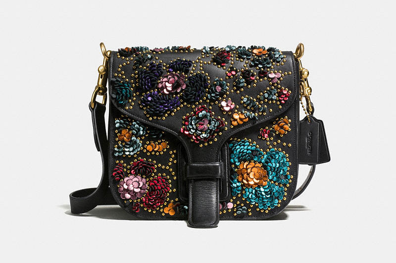 Coach and Rodarte Black Courier Bag in Glovetanned Leather with Sequins $895
