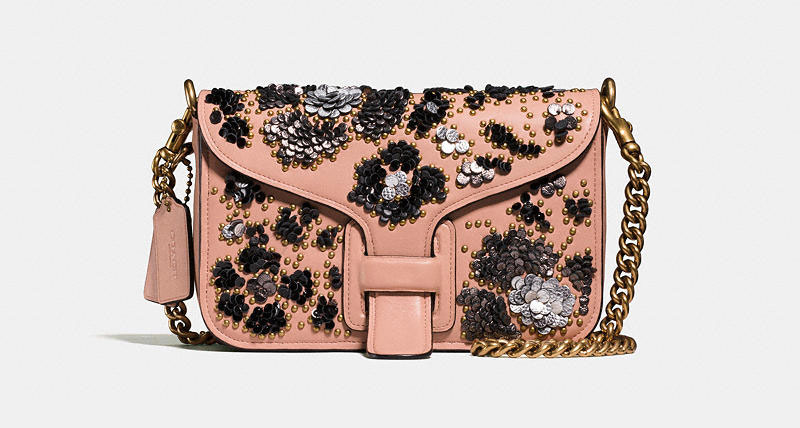 Coach and Rodarte Courier Crossbody Bag in Glovetanned Leather with Sequins $795