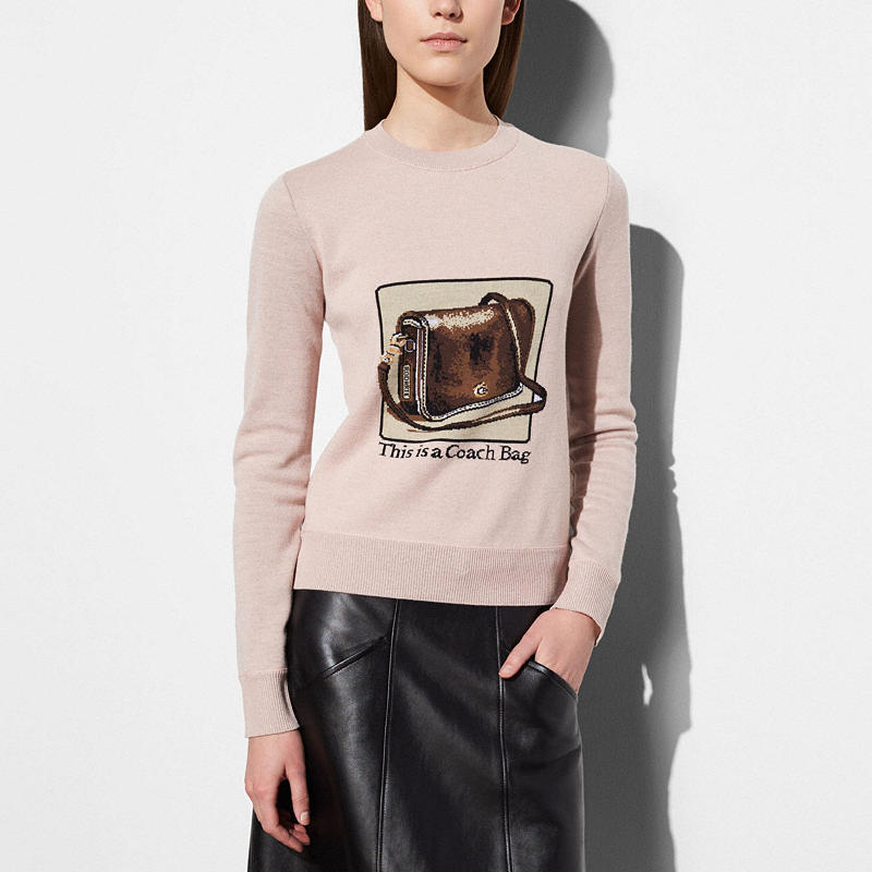 Coach and Rodarte Pink Crewneck with Archive Intarsia $595