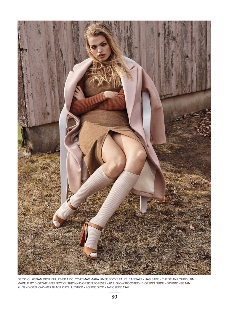 Daphne Groeneveld poses in neutral looks for the fashion editorial