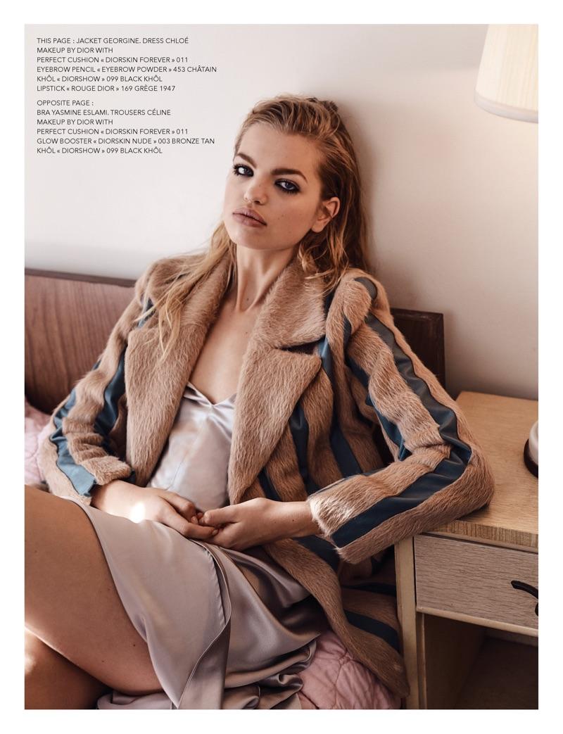 Daphne Groeneveld models Georgine jacket and Chloe dress