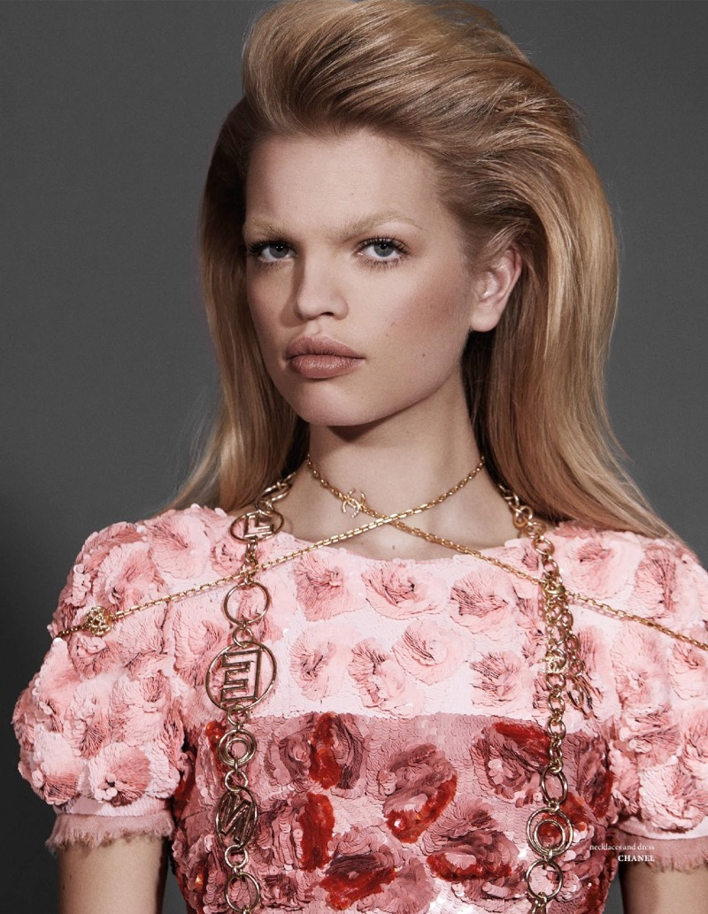 Wearing pink, Daphne Groeneveld wears Chanel necklace and dress