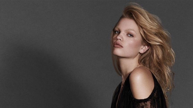 Flaunting some skin, Daphne Groeneveld models Jason Wu lace dress and Intimissimi lingerie