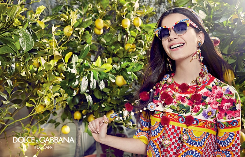 Sonia Ben Ammar flashes a smile in Dolce & Gabbana Eyewear's spring 2017 campaign