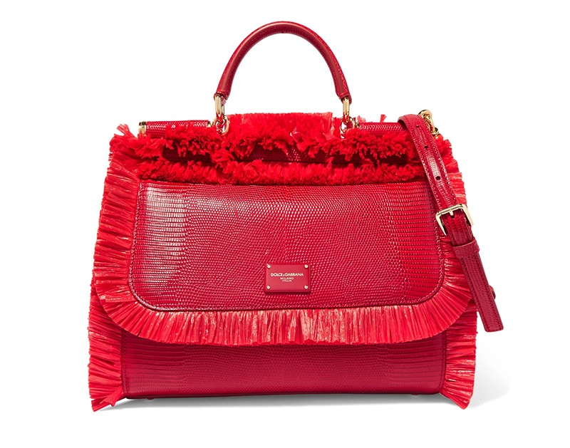 Dolce & Gabbana Sicily Medium Raffia-Trimmed Lizard-Effect Leather Tote $2,495, available at Net-a-Porter