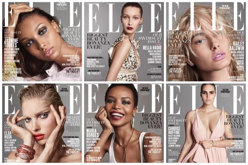 Bella Hadid, Jasmine Tookes & Hailey Baldwin Cover ELLE's May Issue