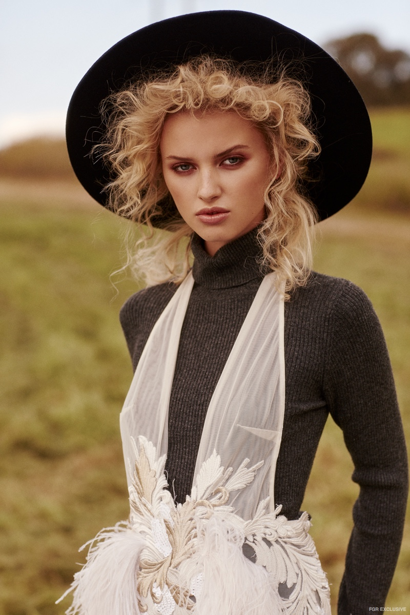 Lack of Color Hat, Susan Driver Earrings, Sonya Hopkins Knit Top and Ae'lkemi Gown
