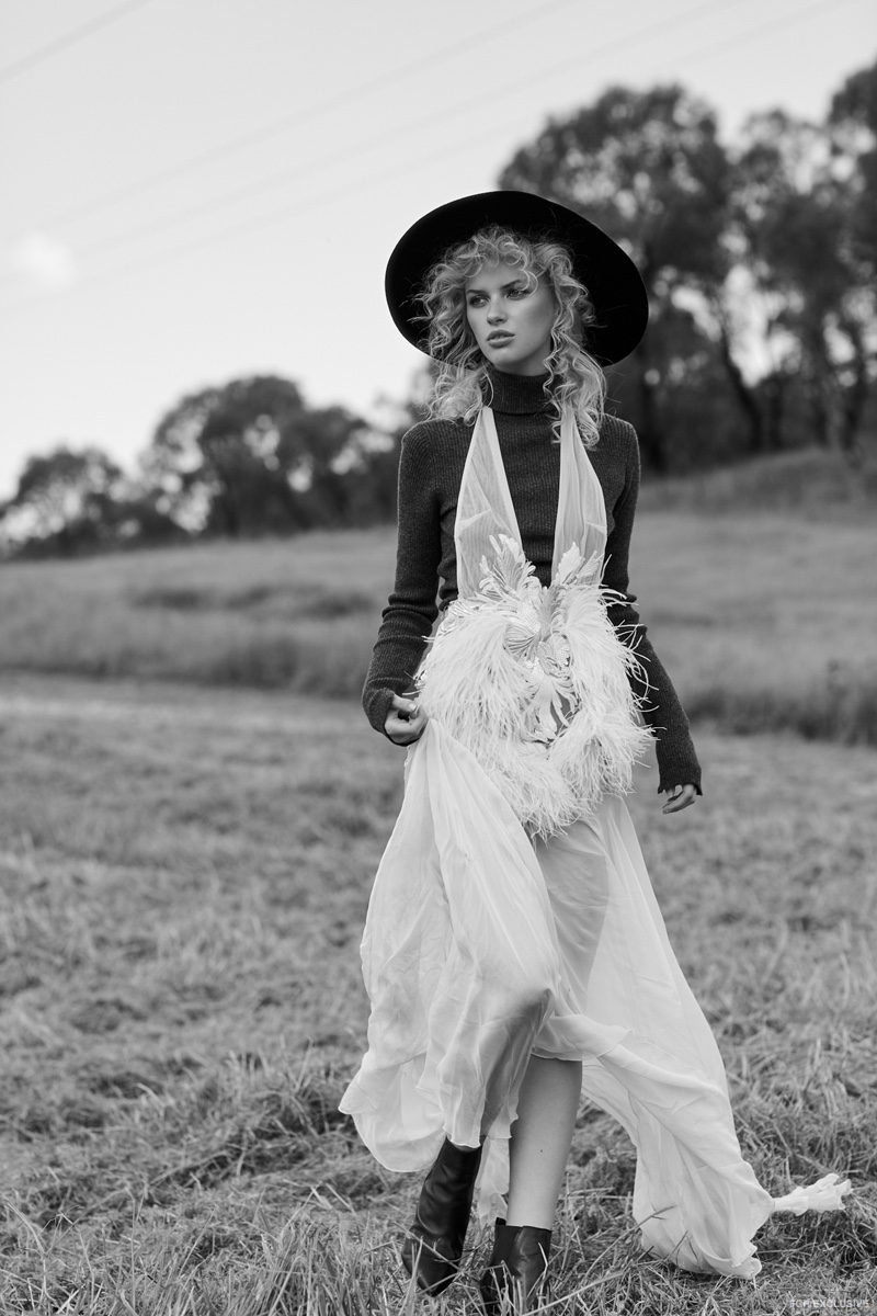 Lack of Color Hat, Susan Driver Earrings, Sonya Hopkins Knit Top, Ae'lkemi Gown and Nude Footwear Boots