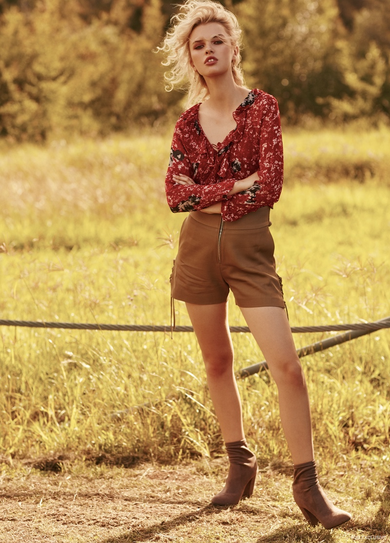 Kerry Rocks Earrings, IRO Blouse and Shorts, Windsor Smith Boots and Kerry Rocks Ring