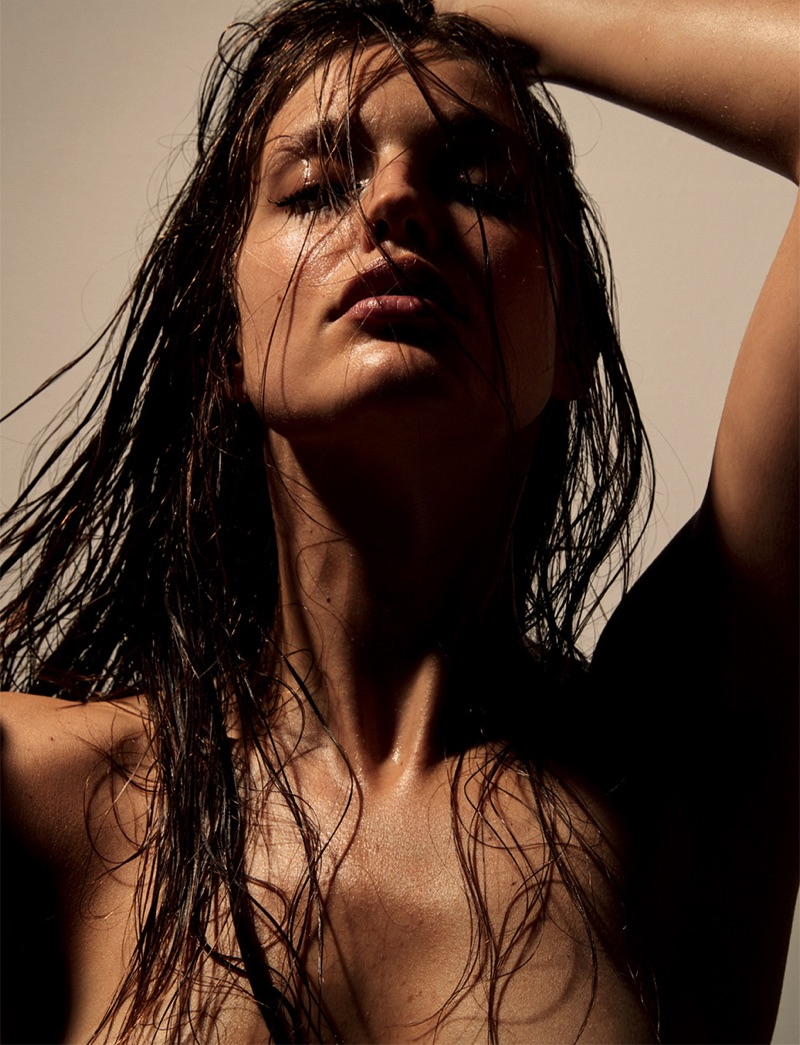 Wearing the wet hair look, Emily DiDonato gets her closeup