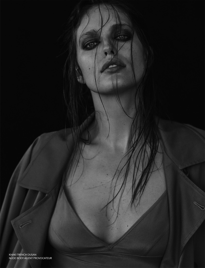 Emily DiDonato wears Agent Provocateur trench coat and bodysuit