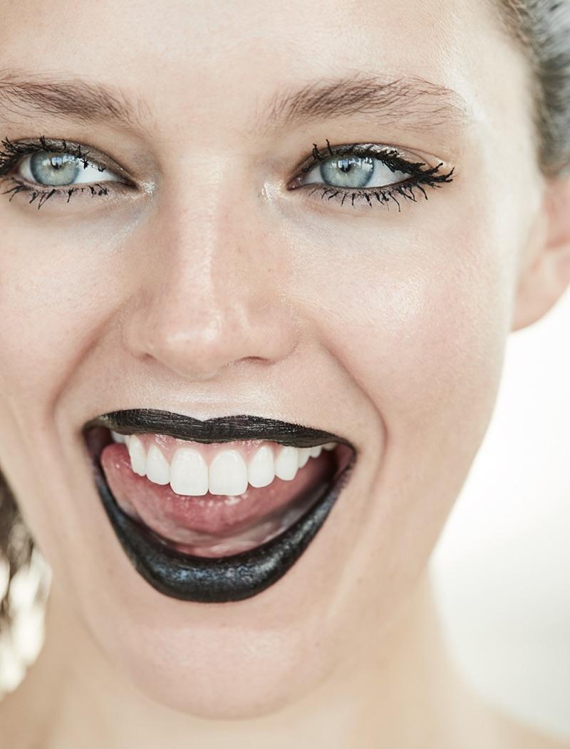 Emily DiDonato wears black lipstick