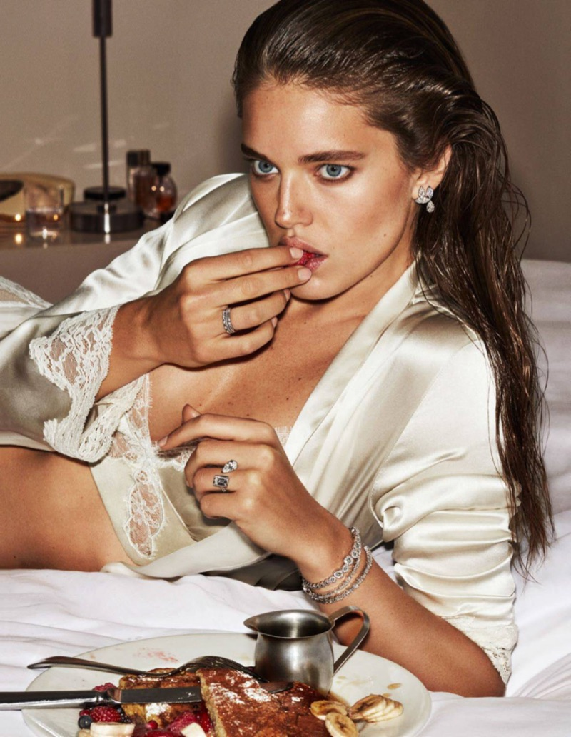 Emily DiDonato sparkles with L Frank by Liseanne Frankfurt bra and Aubade bathrobe