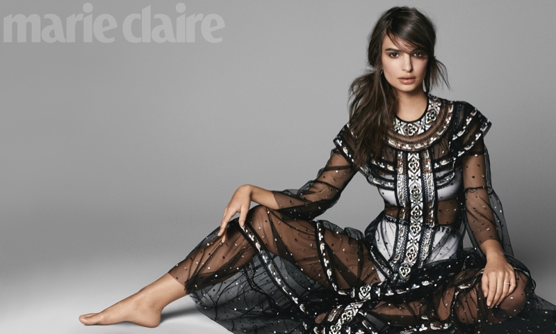 Emily Ratajkowski models sheer Dior black gown, top and briefs