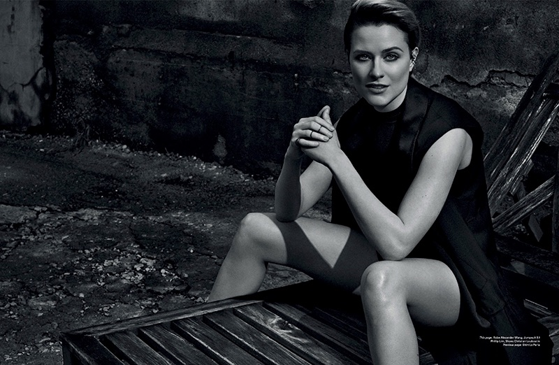 Actress Evan Rachel Wood wears Alexander Wang robe and 3.1 Phillip Lim romper
