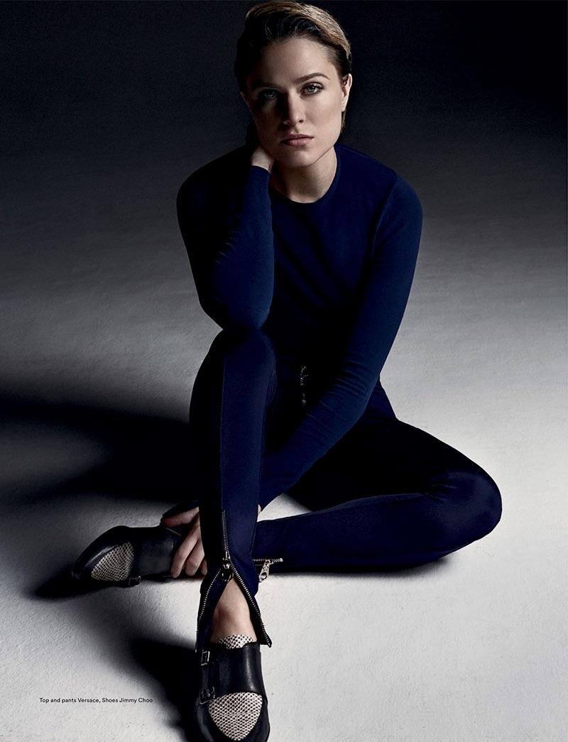 Evan Rachel Wood wears Versace top and pants with Jimmy Choo shoes