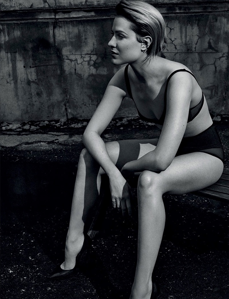 Photographed in black and white, Evan Rachel Wood wears Eres lingerie with Christian Louboutin heels
