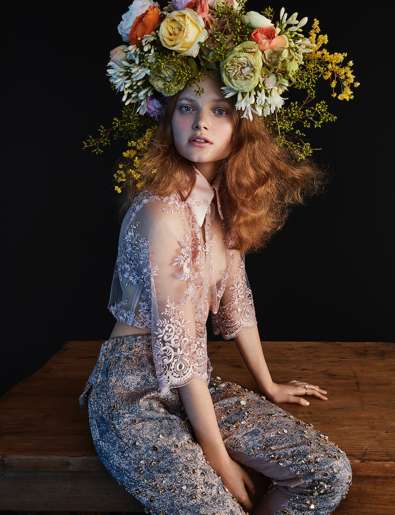 Valou Weemering models lace crop top and embellished pants with flower crown