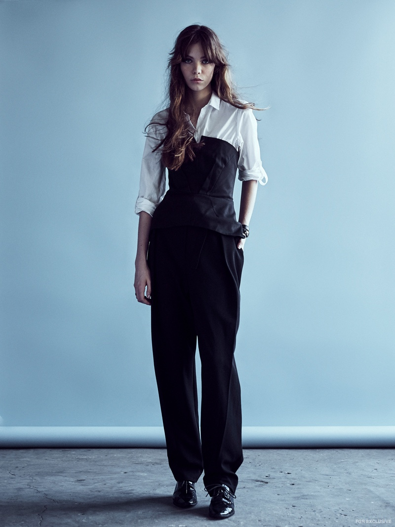 Zara Shirt, stylist's own Bustier, Dion Lee Pleat Front Pants, stylist's own Shoes and Balenciaga Cuff