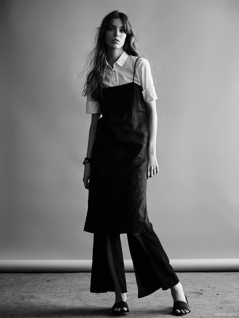 Stylist's own Shirt, St. Agni Mid Length Summer Dress, Isla Nebula Pants, St. Agni Miyo Mules, Holly Ryan Gold Wavee Earring and Balenciaga Cuff
