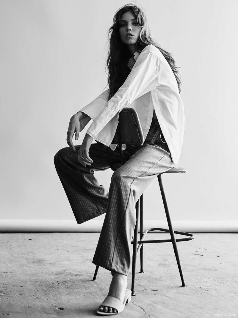Dion Lee Quarter Frayed Shirt, Kate Sylvester Pants, St. Agni Miyo Mules and Krystle Knight Rings