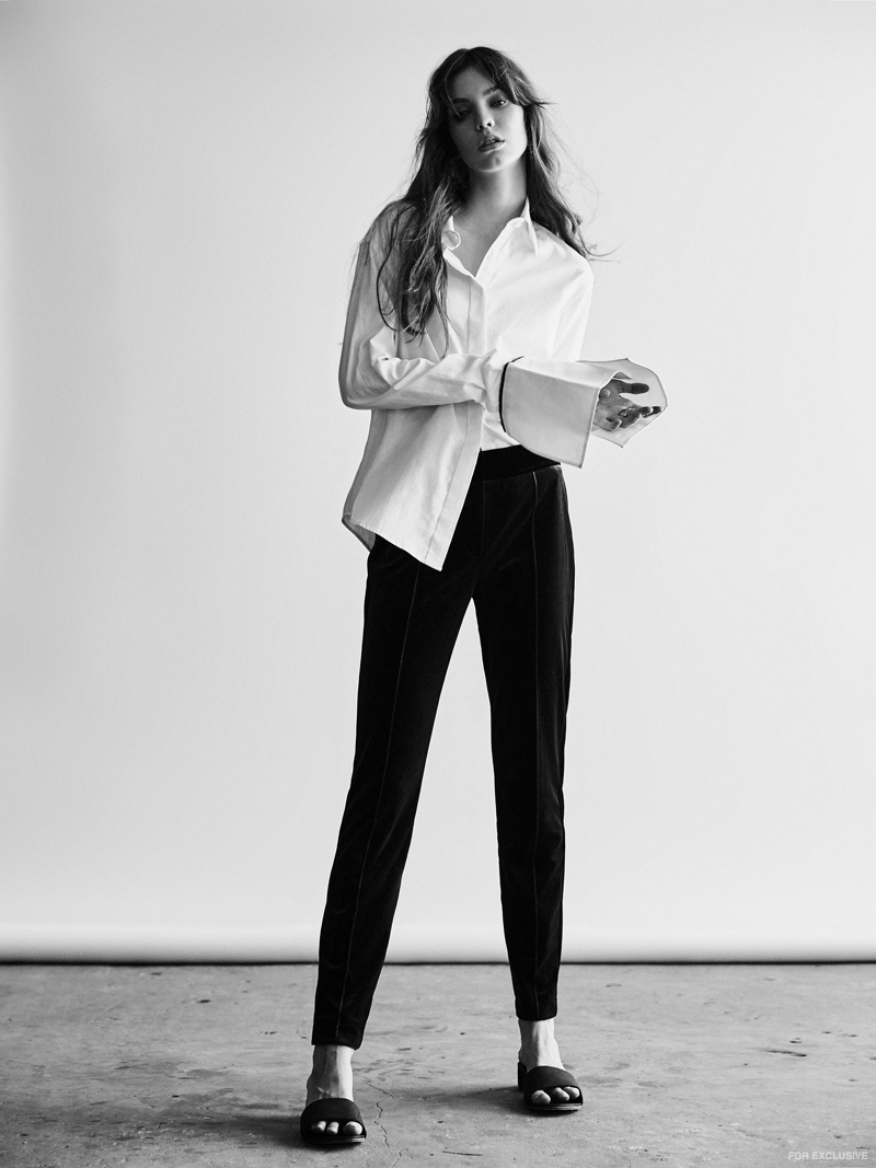 Anna Quan Anne Shirt, Cue Two Tone Velvet Pant and St. Agni Miyo Mules