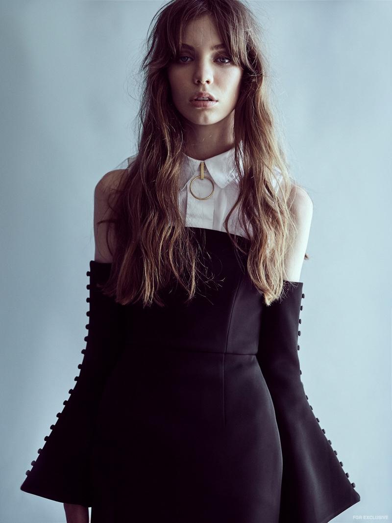 Stylist's own Shirt, Talulah Ingenuity Dress and Holly Ryan Gold Minimalist Choker