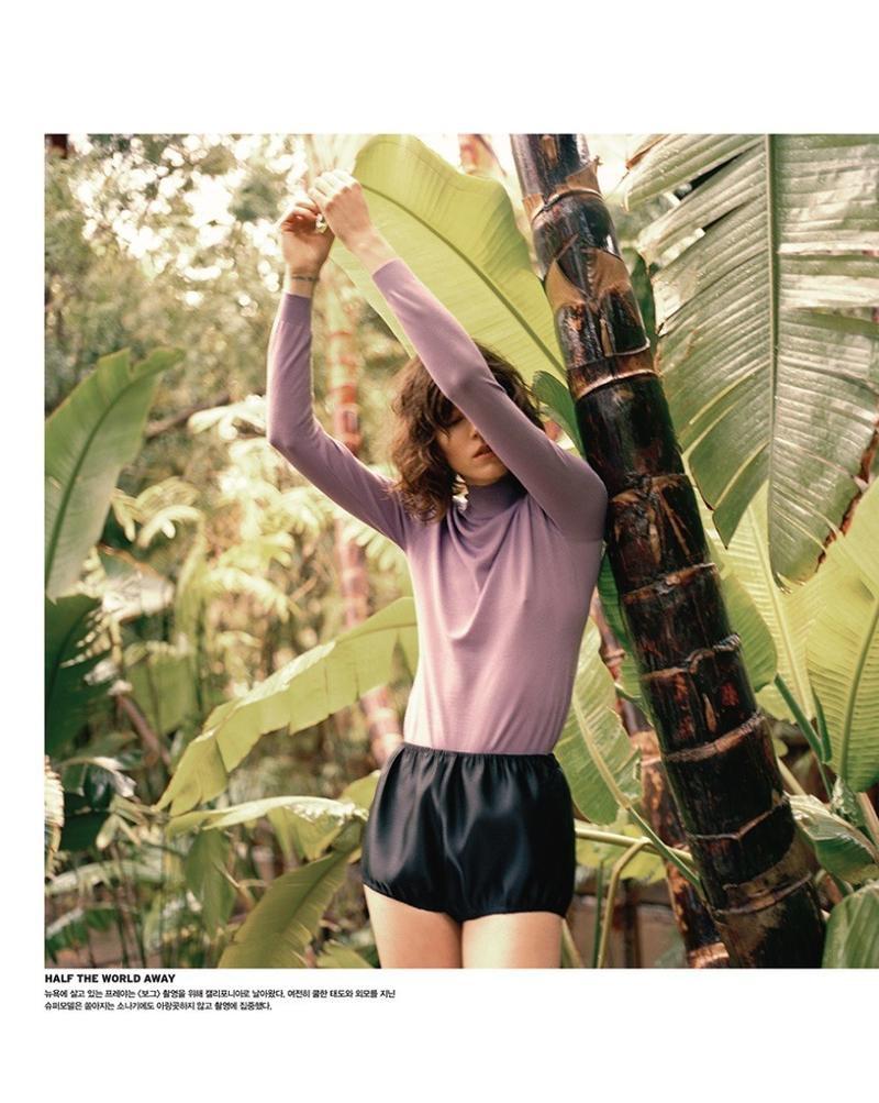 Freja Beha Erichsen wears Miu Miu top and shorts
